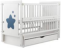 Детская кроватка из бука с ящиком и маятниковым механизмом Звездочка Twins (Дубок), белая