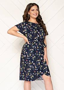 Элегантное платье приталенное батал 50-56 (в расцветках)