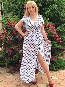 Длинное батальное платье на запах 50-56 (в расцветках)