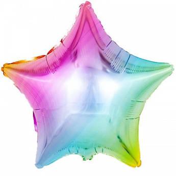 Шарик фольгированный Звезда Радуга Размер 47 см х 49 см