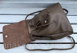 664-1 Натуральная кожа Городской А-4 рюкзак кожаный кофейный рюкзак женский из натуральной кожи коричневы А4+, фото 3