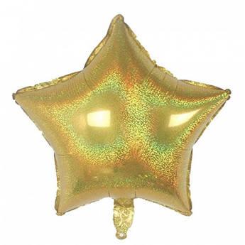 Шарик фольга Звезда голограмма Размер 47 см х 49 см