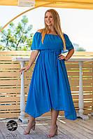 Летнее шифоновое голубое платье ассиметричное батал