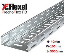 Лоток перфорированный, оцинкованный 100x40x3000x0,6 мм Plechoflex FB