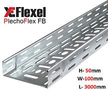 Лоток перфорированный, оцинкованный 100x50x3000x0,6 мм Plechoflex FB