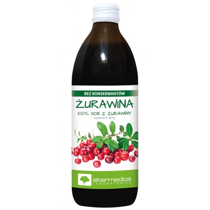 Клюквенный сок 100% без консервантов 500 мл, Altermedica