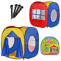 Палатка детская игровая M 0507, куб, 105-100-105см, вход с занавеской, 3 окна-сетка