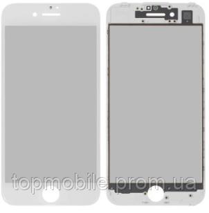 Стекло для iPhone 7, белое, с рамкой