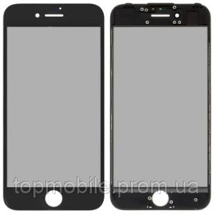 Стекло для iPhone 7, черное, с рамкой, с OCA-пленкой, с поляризационной пленкой, оригинал (Китай)