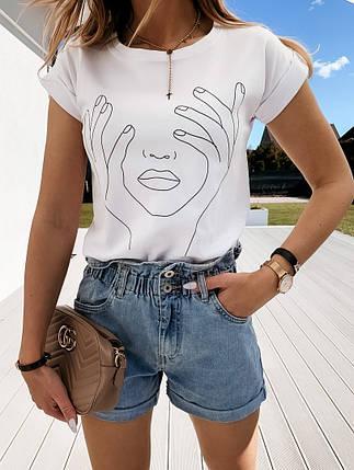 Женская футболка с хлопка, в принт,Турция(48-50), фото 2