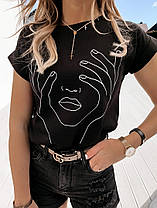 Женская футболка с хлопка, в принт,Турция(48-50), фото 3