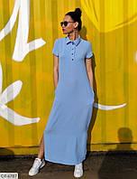 Летнее прямое длинное женское платье в пол с разрезами по бокам арт 175