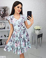 Воздушное красивое женское летнее платье клеш с цветочными принтами арт 285/1