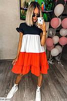 Тонкое летнее женское платье свободного кроя до колена трехцветное арт 156