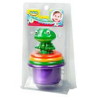 Развивающая игрушка BeBeLino Пирамидка-стаканчики с брызгалкой для ванной Лягушонок (57111)