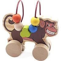 Развивающая игрушка Мир деревянных игрушек Лабиринт-каталка Обезьяна (Д357)