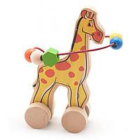 Развивающая игрушка Мир деревянных игрушек Лабиринт-каталка Жираф (Д358)