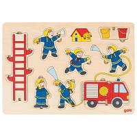 Развивающая игрушка Goki Пазл-вкладыш вертикальный-Пожарная команда (57471G)