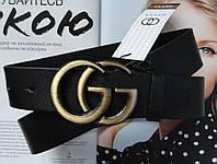 Женский ремень Gucci пряжка бронза черный, фото 1