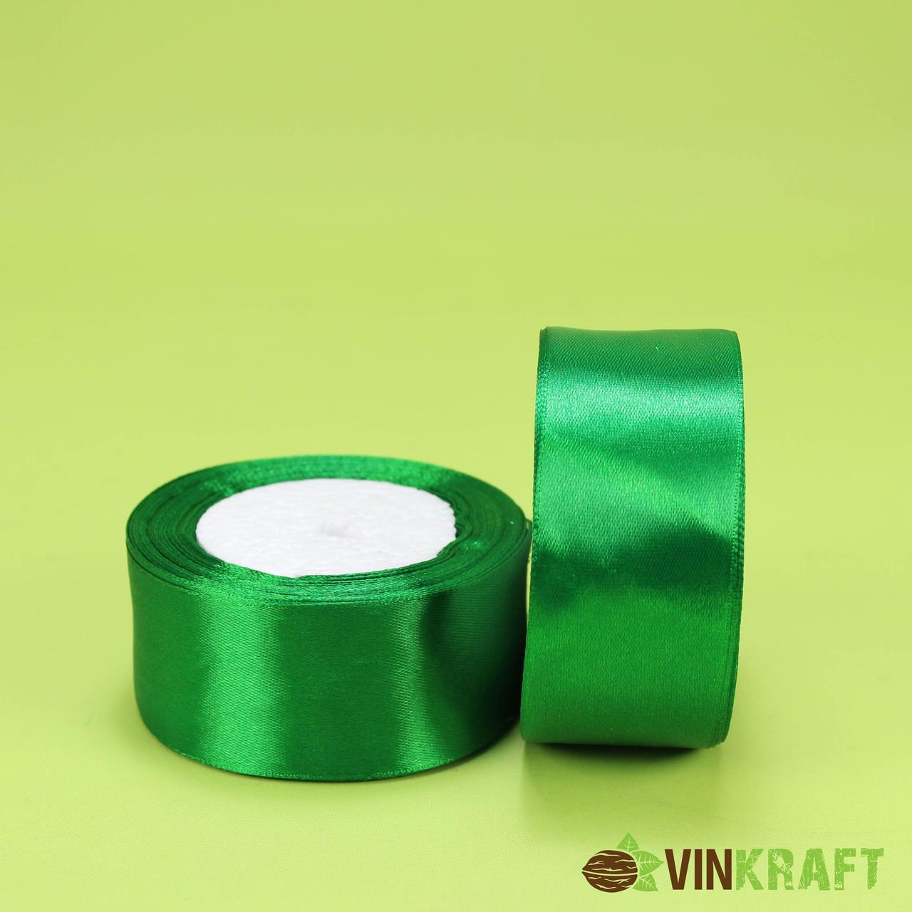 Стрічка атласна 40 мм (23м) зелена