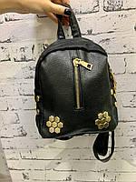 Маленький черный женский городской рюкзак из эко кожи