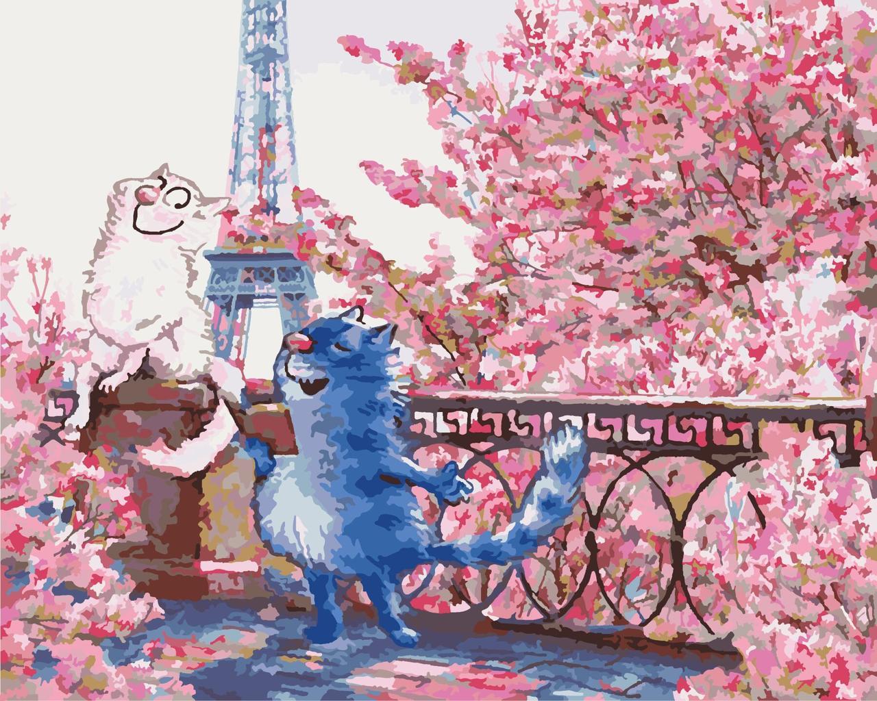 КНО4047 Раскраска по номерам Свидание в Париже, Без коробки