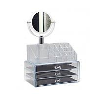 Настольный ящик органайзер для косметики с зеркалом Storage Box акриловый