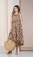 Платье Deesses-1057 белорусский трикотаж, молочно-зеленые тона, 42
