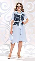 Платье Mira Fashion-4816 белорусский трикотаж, голубые тона, 50