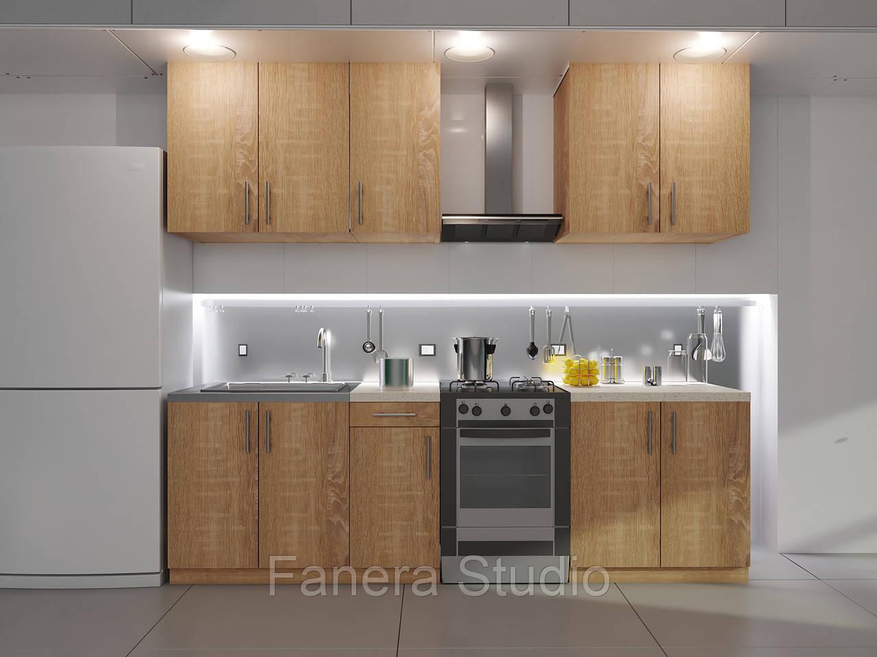 Готовий комплект кухні висота 2.0 м, низ 2.0 м з фасадами ЛДСП накладної мийкою