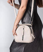 Бежевая маленькая сумка через плечо женская кожаная летняя М266 beige