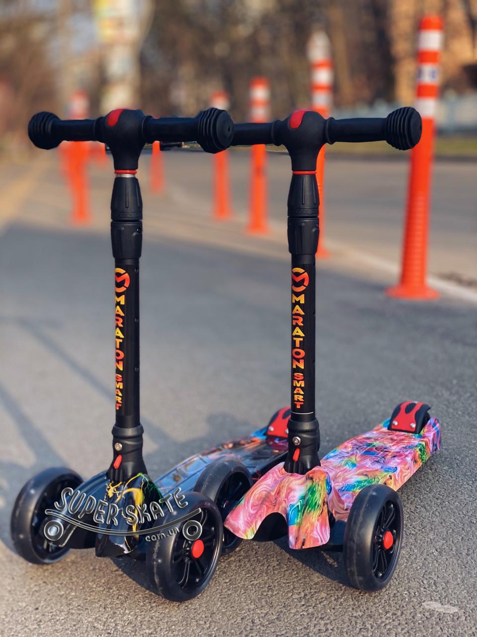 Самокат детский трехколесный scooter smart - самокат со светящимися колесами SMART Print