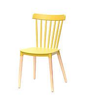 Стул на деревянных ножках с пластиковым сиденьем для баров, кафе, ресторанов, стильных квартир Tim