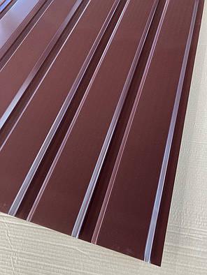 Профнастил для забора шоколад ПС-20, 0,45 мм; высота 1.75 метра ширина 1,16 м, фото 2