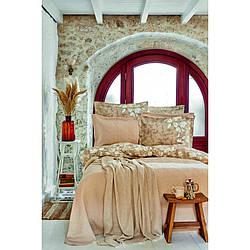 Набор постельное белье с покрывалом + пике Karaca Home - Bush 2020-2 евро Бежевый