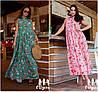 Р 42-48 Натуральне літній вільне довге плаття 21930