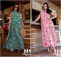 Р 42-48 Натуральное летнее свободное длинное платье 21930