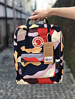 Рюкзак камуфляжный женский мужской школьный 16 литров от бренда Fjallraven Kanken Канкен