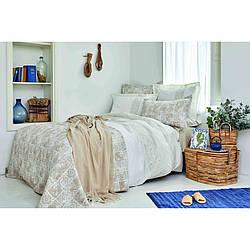Набор постельное белье с покрывалом + пике Karaca Home - Positano 2020-2 евро Бежевый