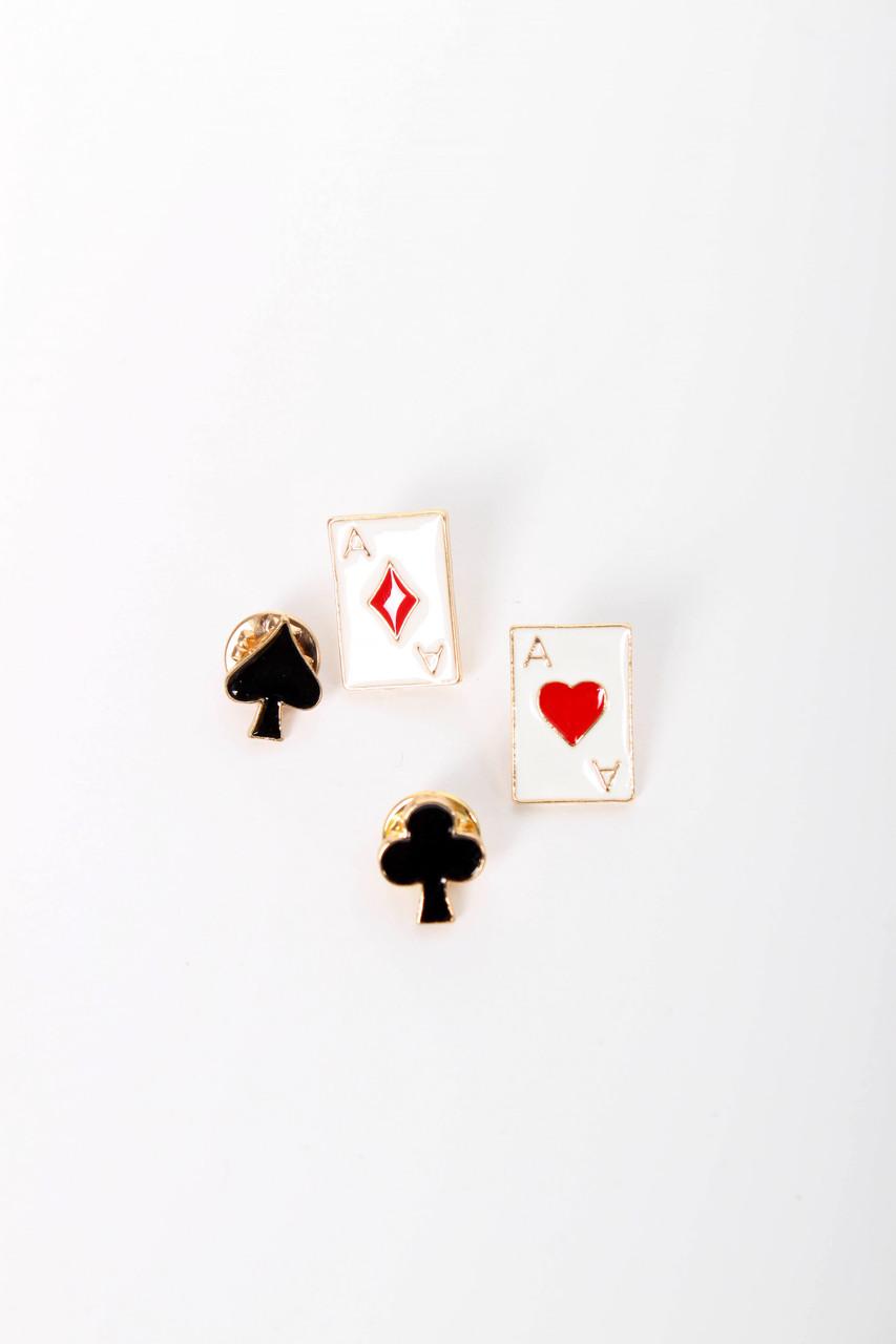 Брошки FAMO Набор брошек Кардс черный + белый Длина 2/1.5(см) / Ширина 1.5/1.3(см) (Х33-34-66-1)