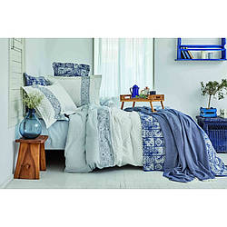 Набор постельное белье с покрывалом + пике Karaca Home - Positano 2020-2 евро да, нет, Голубой