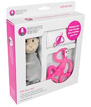 Набор для новорожденного: пеленка прорезыватель для зубов игрушка ТМ Matcstick Monkey Pink