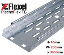 Лоток перфорированный, оцинкованный 200x40x3000x0,6 мм Plechoflex FB