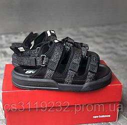Мужские сандали New Balance Textile Sandals (черные) рефлектив