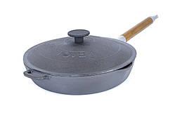 Сковорода гриль чавунна кругла Біол з кришкою пресом 24 см 11241