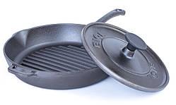 Сковорода гриль з кришкою пресом чавунна кругла Біол 26 см 11261