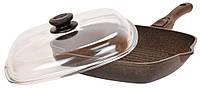 Сковорода-гриль Биол Гранит браун с крышкой 28 см 28143ПС