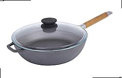 Сковорода чугунная с крышкой Биол высокая со съемной ручкой 0324с