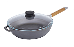 Сковорода чугунная глубокая Биол с крышкой и съемной ручкой 0326с
