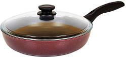 Сковорода антипригарна Біол Атлас зі скляною кришкою 24 см 2413ПС